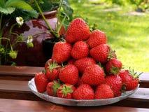 新鲜的堆成熟草莓 免版税库存图片