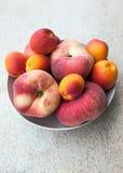 新鲜的夏天杏子和桃子在碗 库存图片