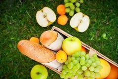 新鲜的夏天食物果子野餐篮子苹果计算机草 免版税库存照片