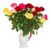 新鲜的多彩多姿的玫瑰花束  免版税库存图片