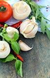 新鲜的大蒜草本以子弹密击香料蕃茄 库存照片