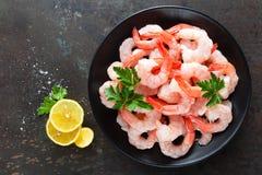 新鲜的大虾 未加工的虾,大虾 海鲜 顶视图 免版税图库摄影