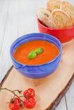 新鲜的奶油色蕃茄汤用有机大蒜 免版税库存图片