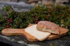 新鲜的家制面包和乳酪在桌上 免版税库存图片