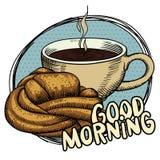 新鲜的小圆面包和一个杯子蒸在一块蓝色板材的芳香咖啡 愿望早晨好 图画要素自然徒手画风格化 库存例证