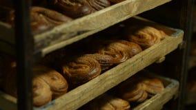 新鲜的小圆面包 从烤箱的点心 影视素材