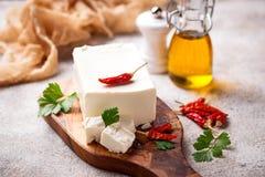 新鲜的希腊白软干酪用香料 库存图片