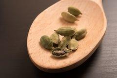 新鲜的干豆蔻果实小豆蔻播种在一把木匙子的香料 免版税库存照片