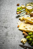 新鲜的干酪片断用白葡萄酒和坚果 免版税库存照片