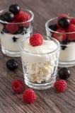 新鲜的干酪用莓和无核小葡萄干 浆果新鲜的酸奶 布朗木桌 免版税库存照片