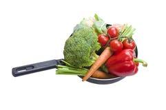 新鲜的平底锅蔬菜 库存照片
