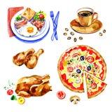 新鲜的快餐水彩集合商标设计模板 免版税库存图片