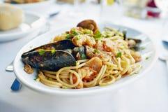 新鲜的意大利面食海鲜 库存图片