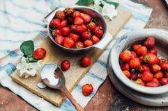 新鲜的成熟在dis计划的草莓和黄色樱桃 库存图片