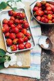 新鲜的成熟在dis计划的草莓和黄色樱桃 库存照片