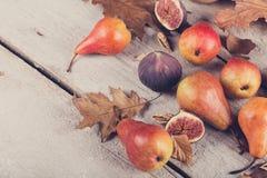 新鲜的成熟果子和叶子的抽象构成在白色 图库摄影