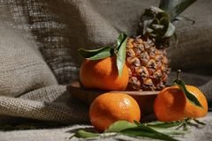 新鲜的成熟果子蜜桔和菠萝与绿色叶子在粗麻布一个遮荫机盖  免版税库存图片