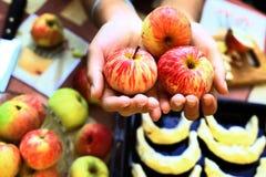 新鲜的成熟苹果在手上用在背景的新月形面包 免版税库存照片