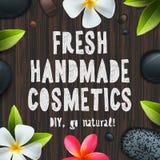 新鲜的手工制造有机化妆用品 向量例证