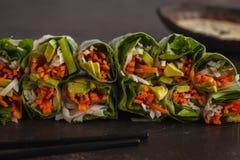 新鲜的手工制造素食主义者亚洲春卷用米线, avoca 库存照片