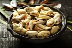 新鲜的抓住淡菜海鲜盛肉盘 库存照片