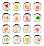新鲜的拼贴画许多寿司