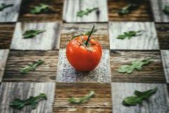 新鲜的明亮的蕃茄,蓬蒿在年迈的葡萄酒表面mosaik板离开与片断,不同的品种当棋盘 免版税图库摄影