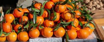 新鲜的普通话和柑桔橙色堆,与叶子,在销售中,在阳光下 维生素和健康食物 库存图片