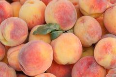 新鲜的有机桃子在一个地方农夫市场上 免版税图库摄影