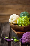 新鲜的有机白色和紫色花椰菜,硬花甘蓝, romanesco 库存照片