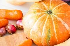 新鲜的有机菜南瓜,红萝卜、葱和胡桃s 免版税库存照片