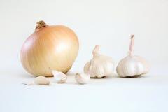新鲜的有机葱和大蒜 免版税库存图片