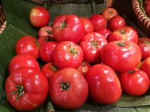 新鲜的有机蕃茄在许多中站立在香蕉事假的蕃茄有在篮子的迷离背景在超级市场 蕃茄, c堆  库存图片