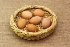 新鲜的有机鸡鸡蛋在与秸杆的篮子放置了 免版税库存照片