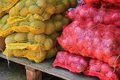新鲜的未加工的葱和土豆 免版税库存照片
