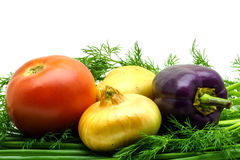 新鲜的未加工的蔬菜的分类在白色背景的 选择包括土豆、蕃茄、葱、胡椒、大蒜和莳萝 库存照片