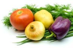 新鲜的未加工的蔬菜的分类在白色背景的 选择包括土豆、蕃茄、葱、胡椒、大蒜和莳萝 库存图片