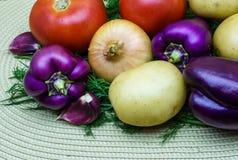 新鲜的未加工的蔬菜的分类在餐巾的 选择包括土豆、蕃茄、葱、胡椒、大蒜和莳萝 免版税图库摄影