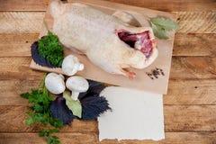 新鲜的未加工的鸭子蘑菇 库存照片