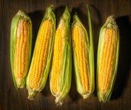 新鲜的未煮过的玉米 免版税库存图片