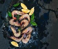 新鲜的未煮过的虾用柠檬、草本和香料在切削的冰在黑暗的板岩石头背景 免版税库存照片