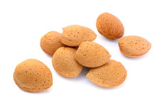 新鲜的杏仁堆在壳的 库存照片