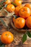 新鲜的柑橘水果蜜桔,在土气样式的桔子特写镜头 免版税库存图片