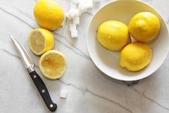 新鲜的柠檬和糖立方体在大理石柜台 免版税库存图片