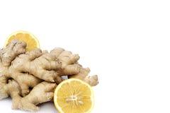 新鲜的柠檬用姜 免版税库存图片