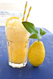 从新鲜的柠檬的自创granita 免版税库存图片