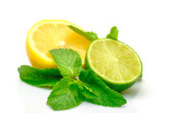 新鲜的柠檬石灰薄菏 免版税库存照片