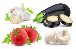 新鲜的查出的蔬菜 在白色背景和大蒜隔绝的茄子、蕃茄 库存图片