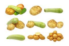 新鲜的查出的集合蔬菜 免版税库存照片