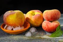 新鲜的桃子和冰,热的夏天概念 免版税库存照片
